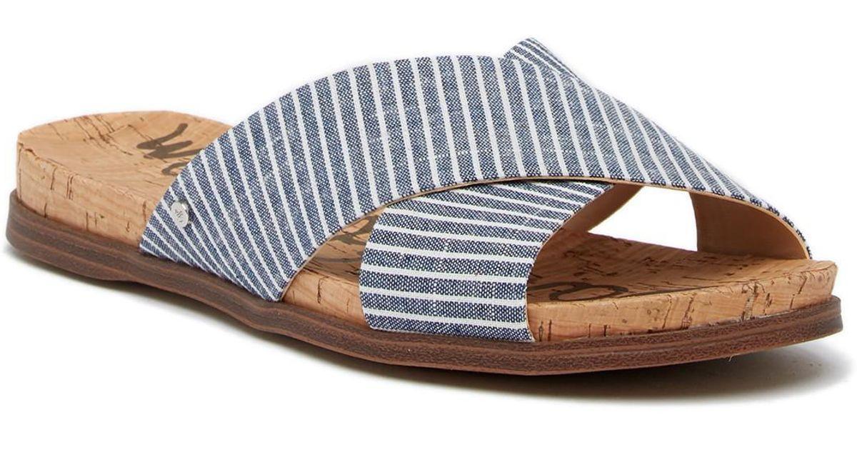 9aa8de54af6f Lyst - Sam Edelman Hattie Crisscross Slide Sandal in Blue