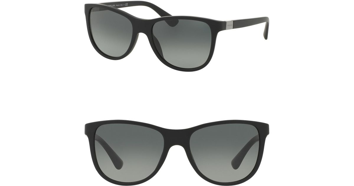 86c970ea6576 Prada 58mm Square Conceptual Matte Black Sunglasses in Black - Lyst