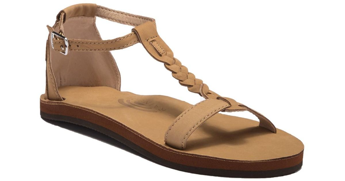 fdc698a7fc0 Lyst - Rainbow Sandals Calafia Single Layer Center Braid Heel in Brown