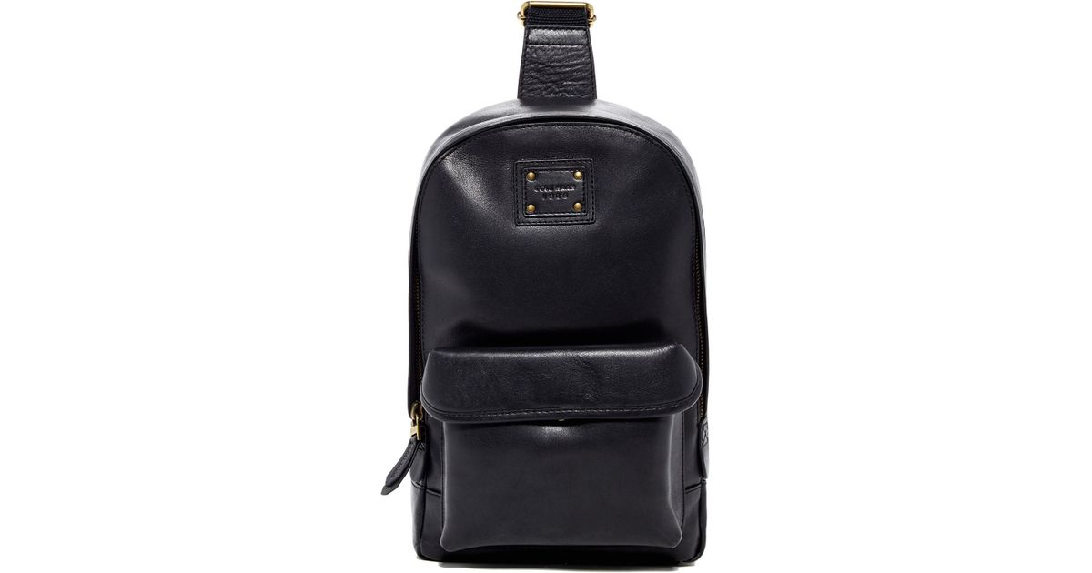 38e810c6cc8 Cole Haan Mini Leather Backpack Sling in Black for Men - Lyst