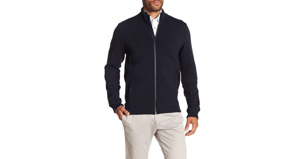 657e5c3aee73 Lyst - Ted Baker Webstar Neoprene Bomber Jacket in Blue for Men