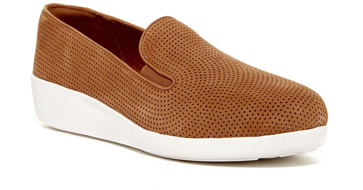 486b579c241 Lyst - Fitflop F-pop Skate Perforated Sneaker in Brown