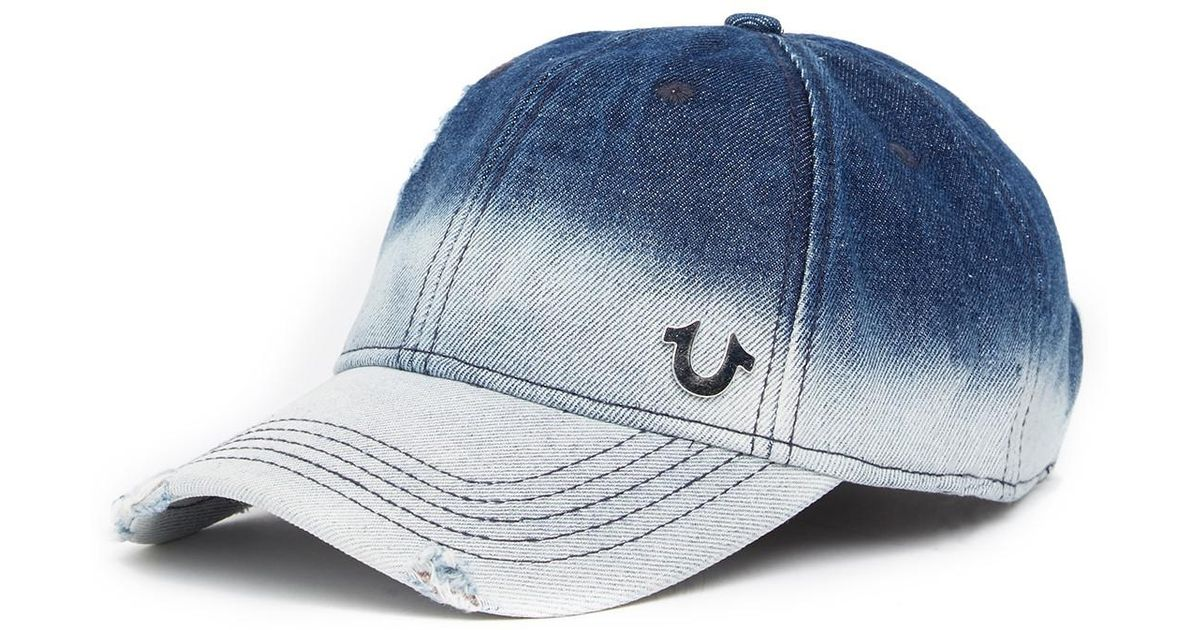 e76500ac15c12 Lyst - True Religion Bleached Denim Baseball Cap in Blue for Men