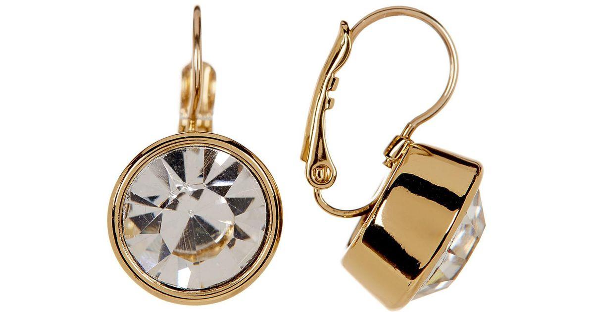 Lyst Kate Spade 12k Gold Plated Round Crystal Drop Earrings In Metallic