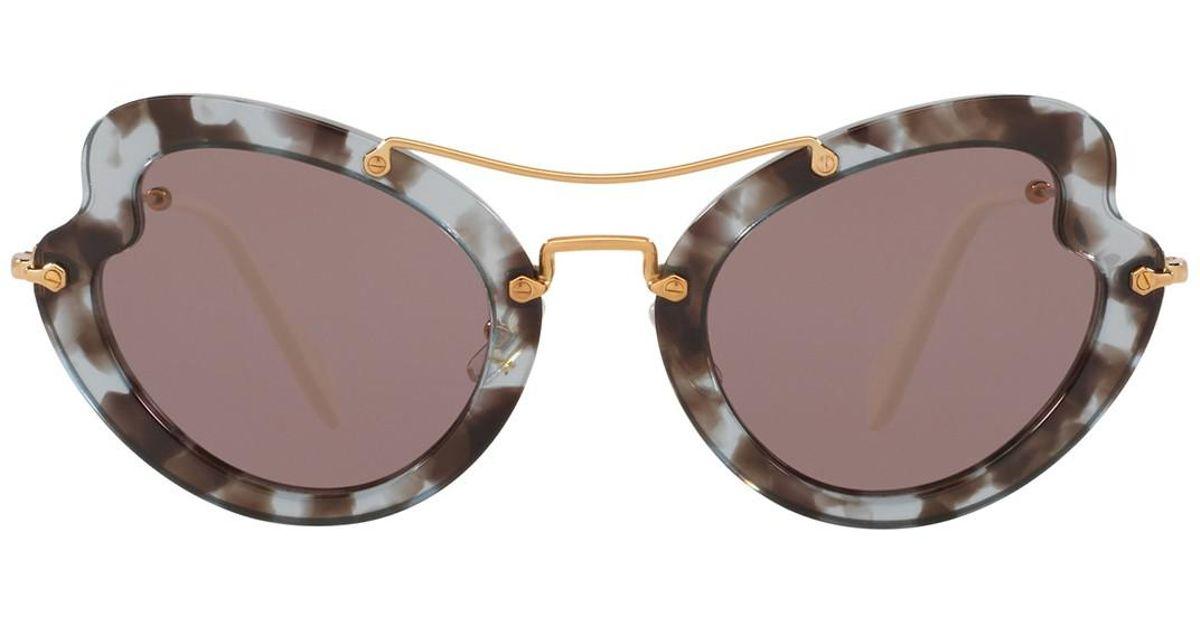 2fb7a95138 Lyst - Miu Miu Butterfly 52mm Acetate Frame Sunglasses in Pink