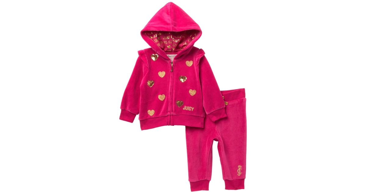 07b493d84 Juicy Couture Dark Pink Velour Hoodie & Pants Set (baby Girls) in Pink -  Lyst