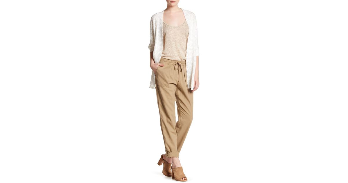 e5d7885802a Lyst - Joe Fresh Drawstring Linen Blend Roll Up Pant in Natural