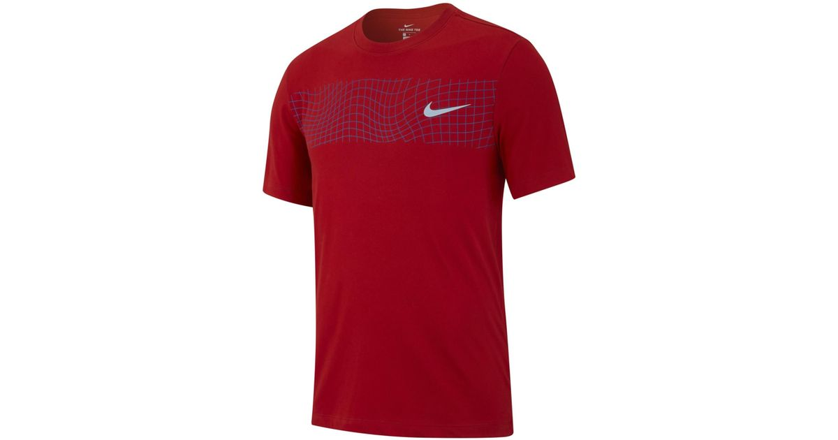 904ad4b3949 Lyst - Nike Grid Graphic Crew Tee in Red for Men