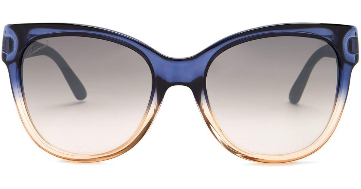 7aaa23aa673 Lyst - Gucci Women s Cat Eye 55mm Acetate Frame Sunglasses in Blue