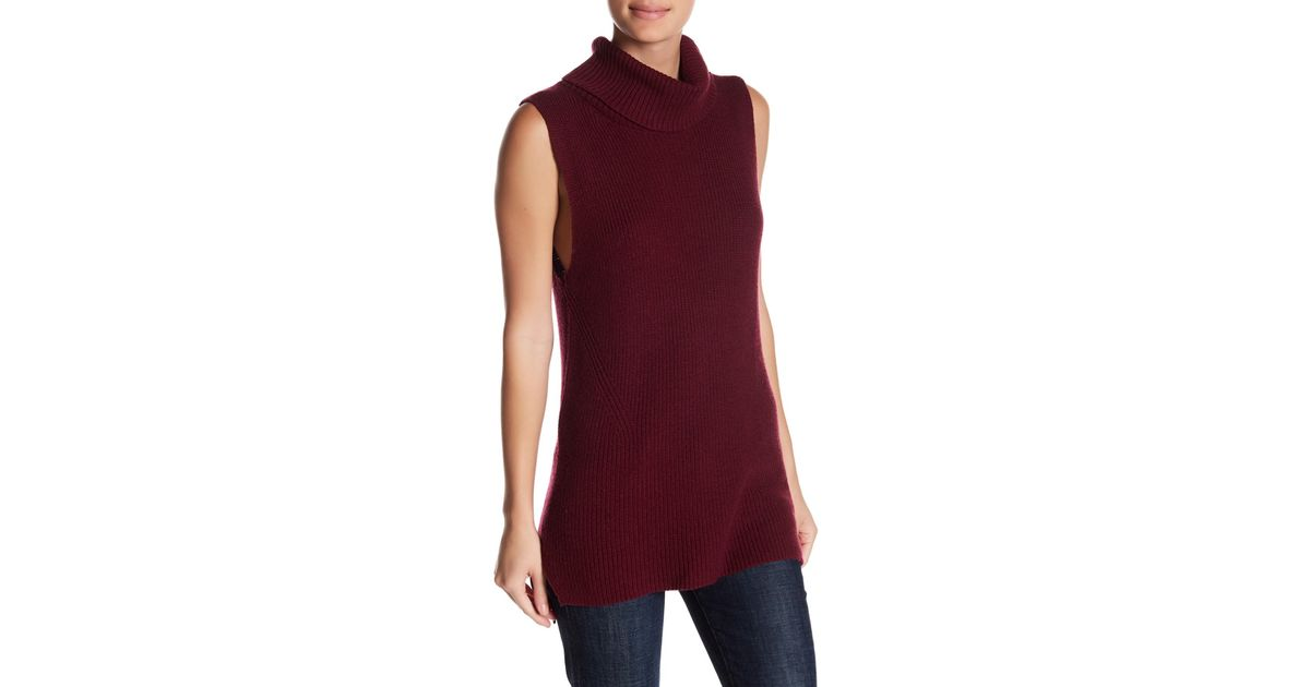 09018101193be3 Lyst - French Connection Abel Sleeveless Turtleneck Sweater in Red