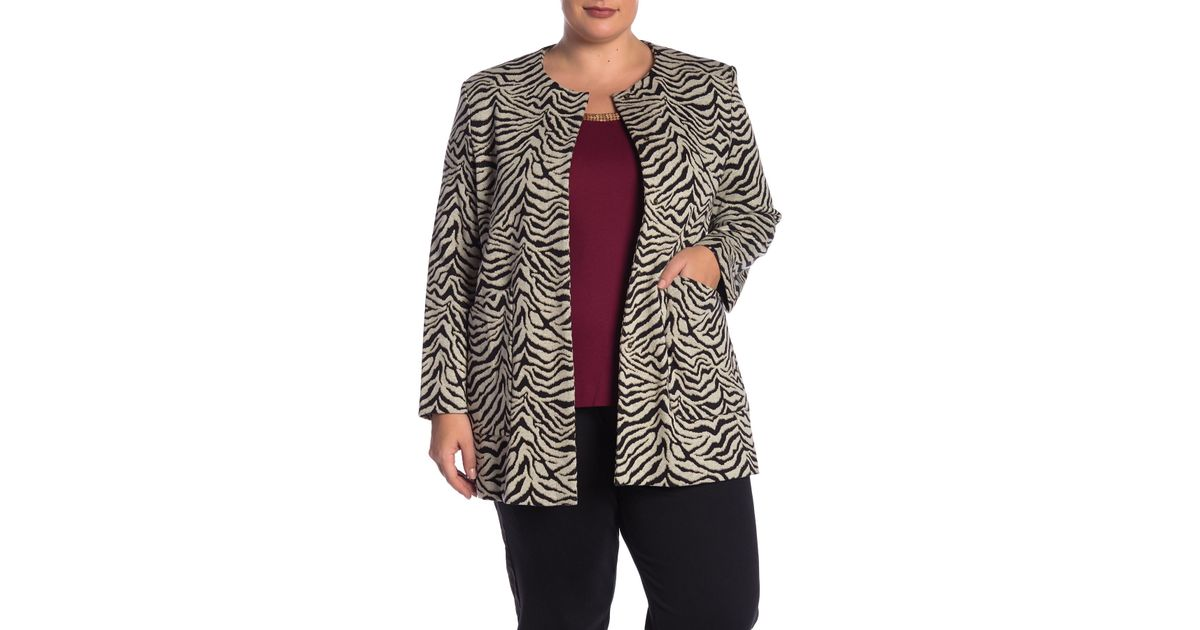 5c52d9a623fe8 Lyst - Joan Vass Tiger Knit Jacket (plus Size)