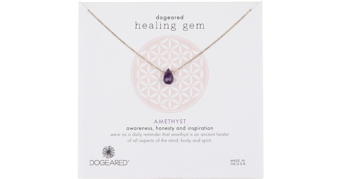 NEW Dogeared Teardrop Healing Gem Amethyst Gold Dipped Earrings