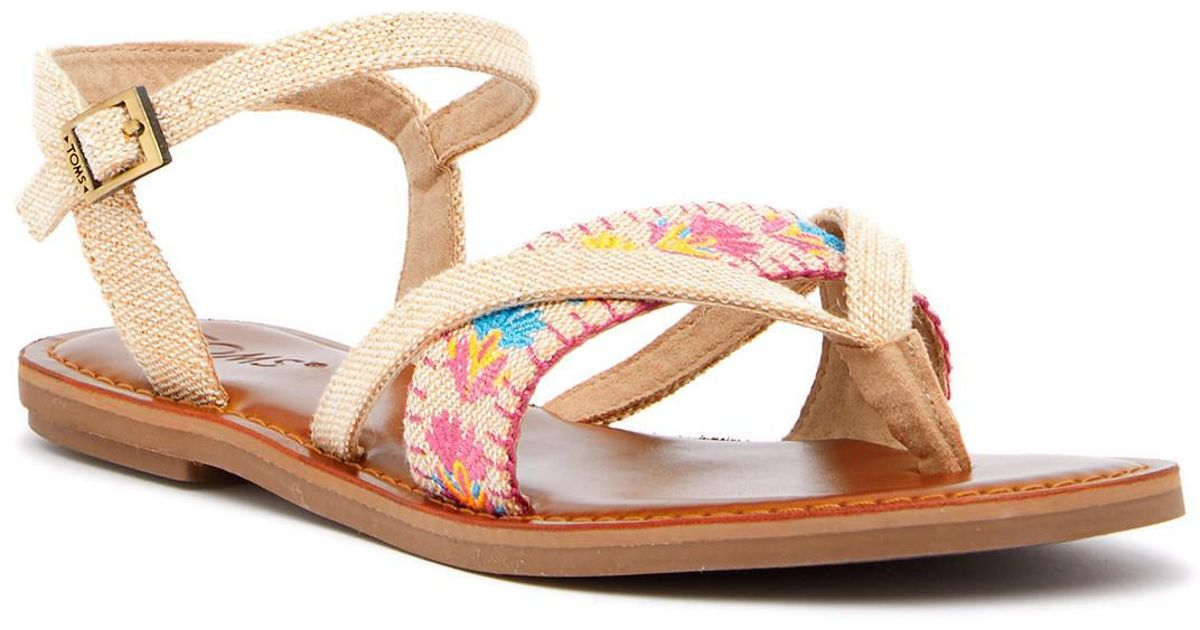 4e0c579ad82 Lyst - TOMS Lexie Embroidered Thong Sandal in Natural