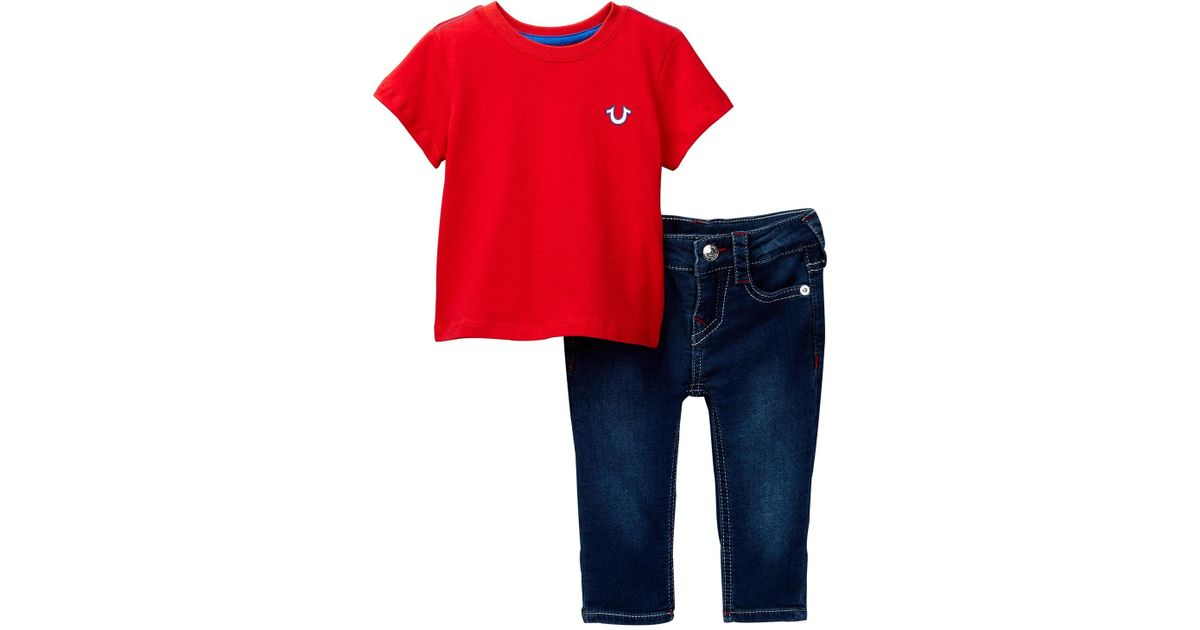 9fabc510 Lyst - True Religion Buddha Tee & Jeans 2-piece Set (baby Boys) in Red for  Men