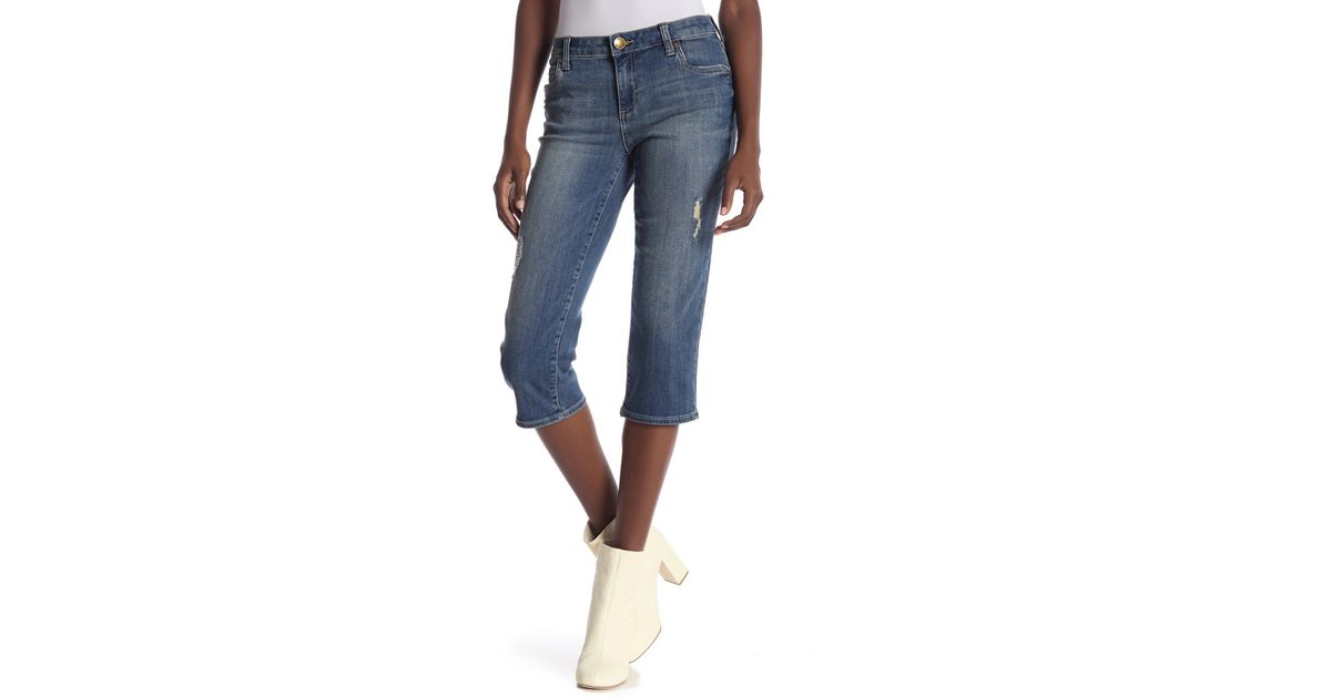 d7f01e11ecc5e Lyst - Kut From The Kloth Natalie Crop Jeans in Blue
