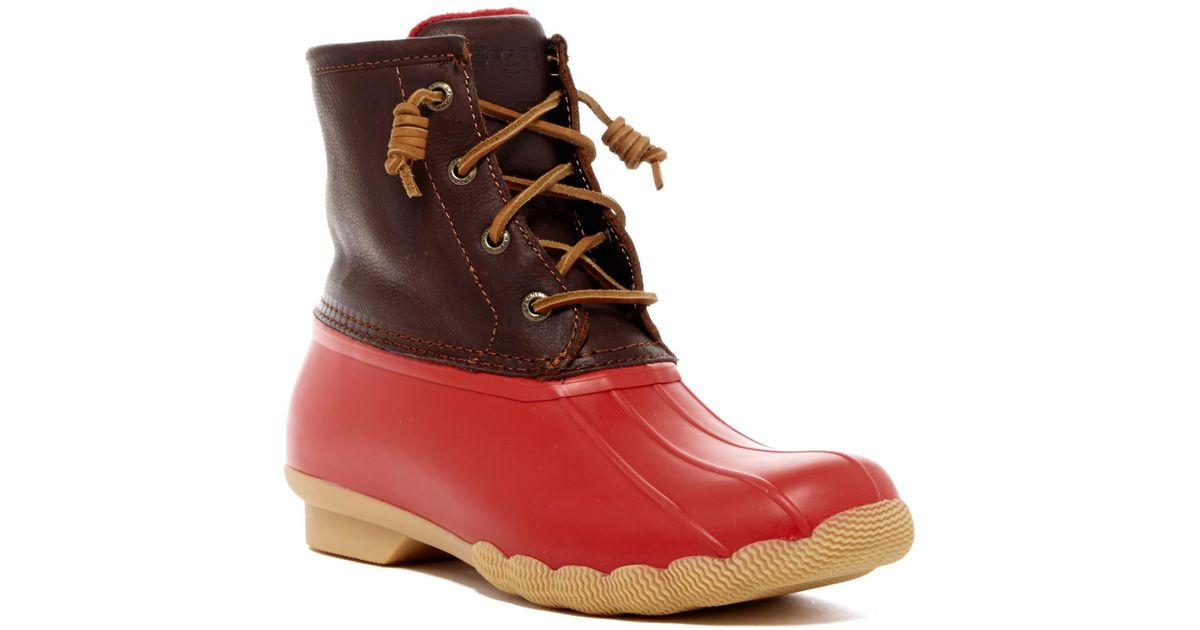 ac3710ebdfe Lyst - Sperry Top-Sider Saltwater Duck Boot in Red