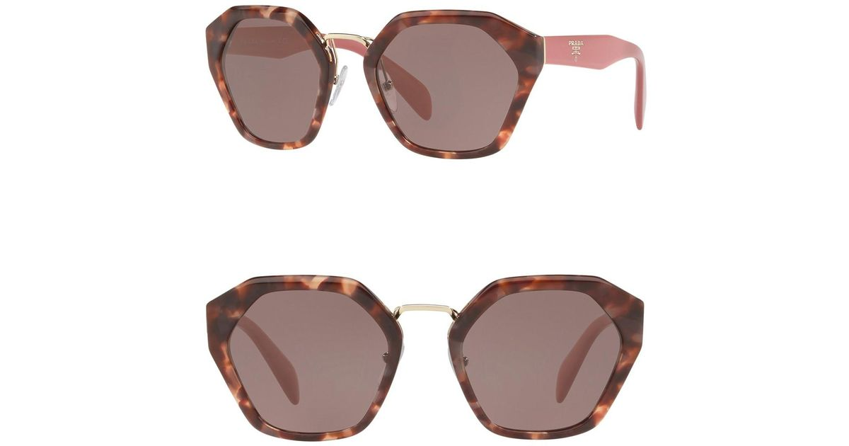 218239a23082f Prada Irregular Heritage 55mm Cat Eye Sunglasses in Brown - Lyst