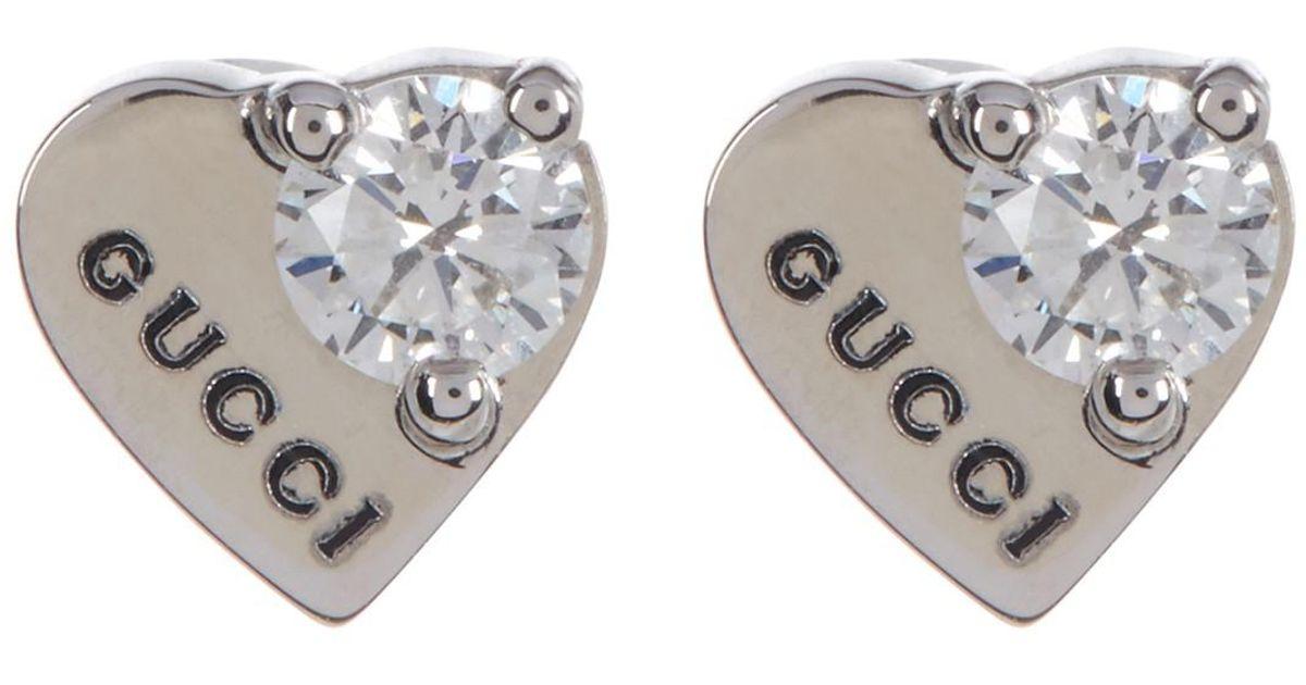 0b584bbf8 Gucci 18k White Gold Trademark Diamond Heart Stud Earrings in Metallic -  Lyst