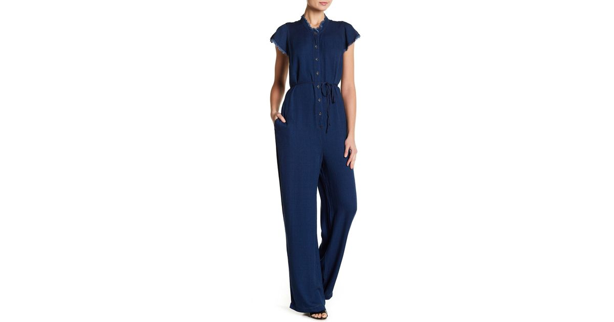 f869856603eb Lyst - Splendid Frayed Wide Leg Chambray Jumpsuit in Blue