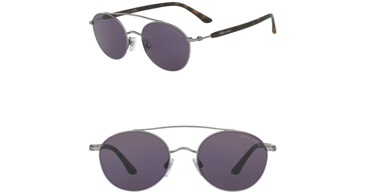 a5619db9cb6 Lyst - Giorgio Armani Round 54mm Steel Sunglasses for Men