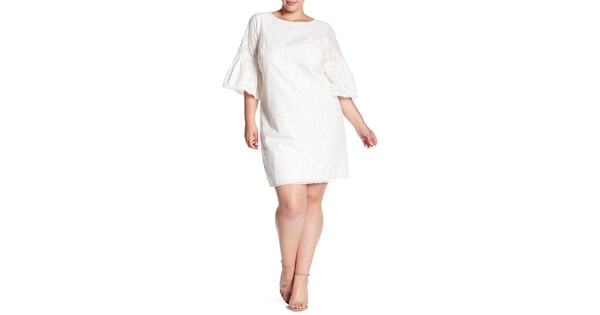 Lyst Eliza J Bell Sleeve Eyelet Dress Plus Size In White