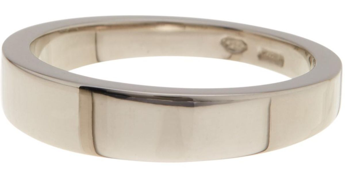 d70d22424 Gucci 18k White Gold Icon Engraved Band Ring - Size 4 in Metallic - Lyst