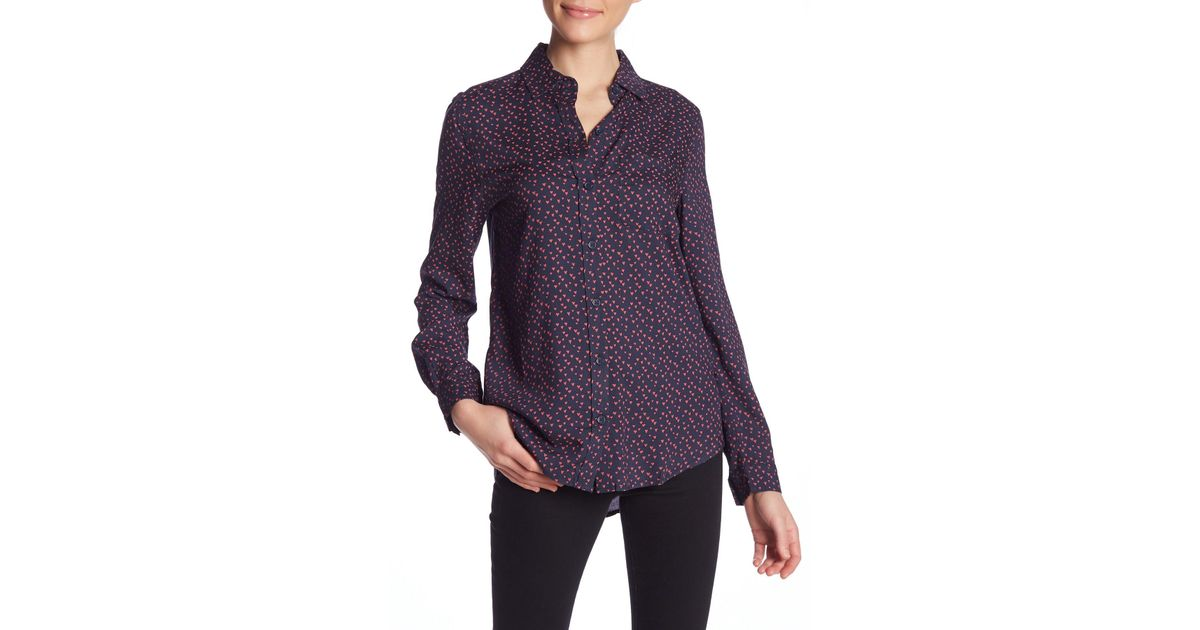 a3ec22214e639 Lyst - Beach Lunch Lounge Alana Heart Patterned Button Front Shirt in Purple