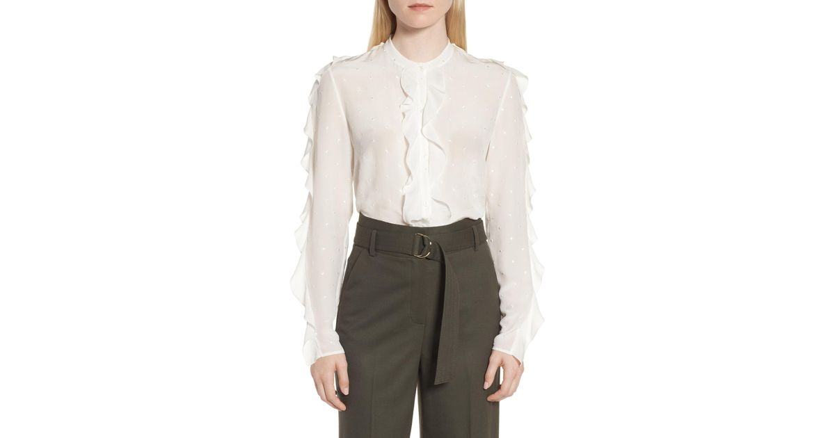25532dfb78018c Lyst - LEWIT Ruffle Detail Embroidered Silk Blouse in White