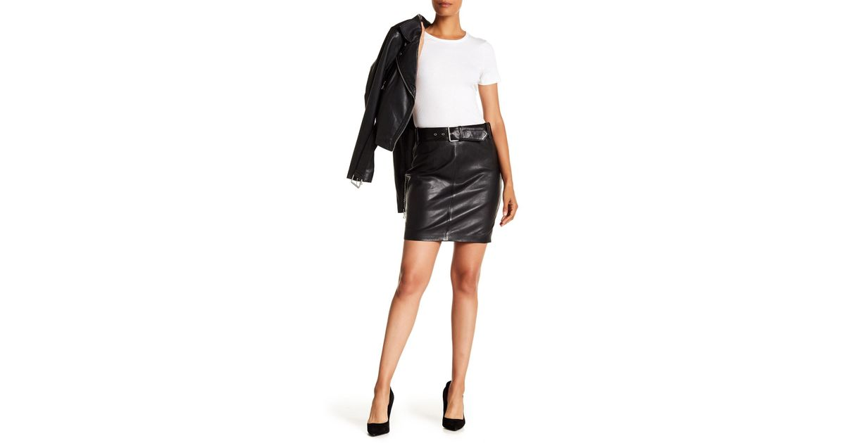 0b2f62d640 Lyst - Liebeskind Berlin Belted Leather Skirt in Black