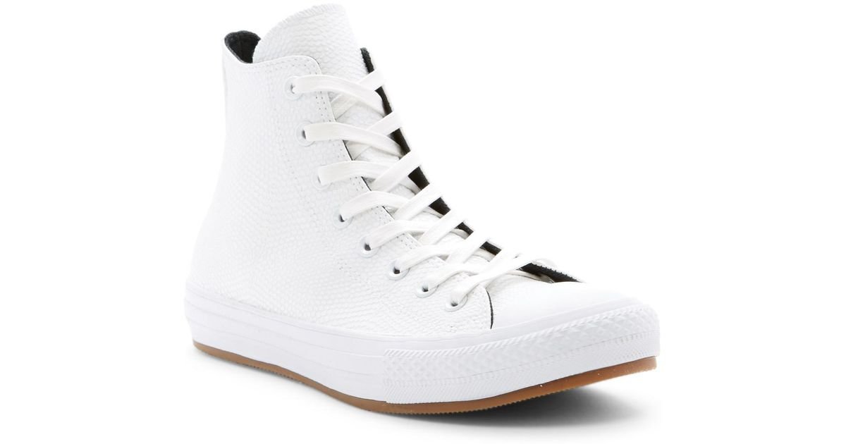 d49ce2ff367960 Lyst - Converse Chuck Taylor All Star Snake Embossed Leather High Top  Sneaker (unisex) in White