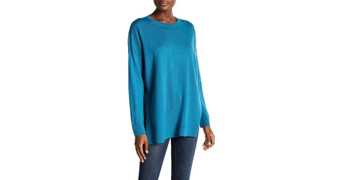 Lyst Eileen Fisher Boxy Dolman Wool Sweater In Blue