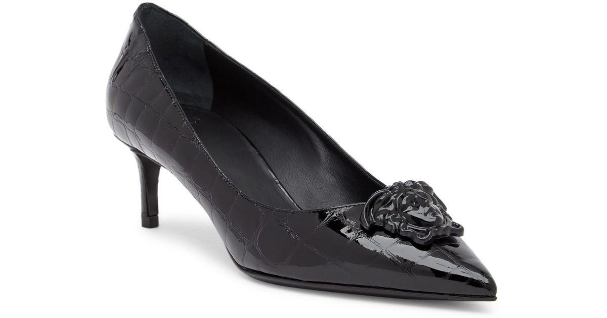 Versace Croc Embossed Medusa Kitten Heel rLmmDI