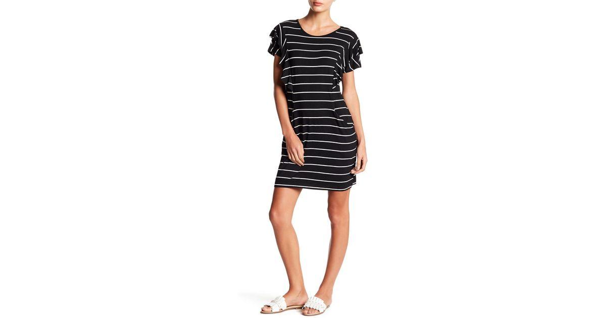 382269378f98 Lyst - Fever Striped Ruffle T-shirt Dress in Black