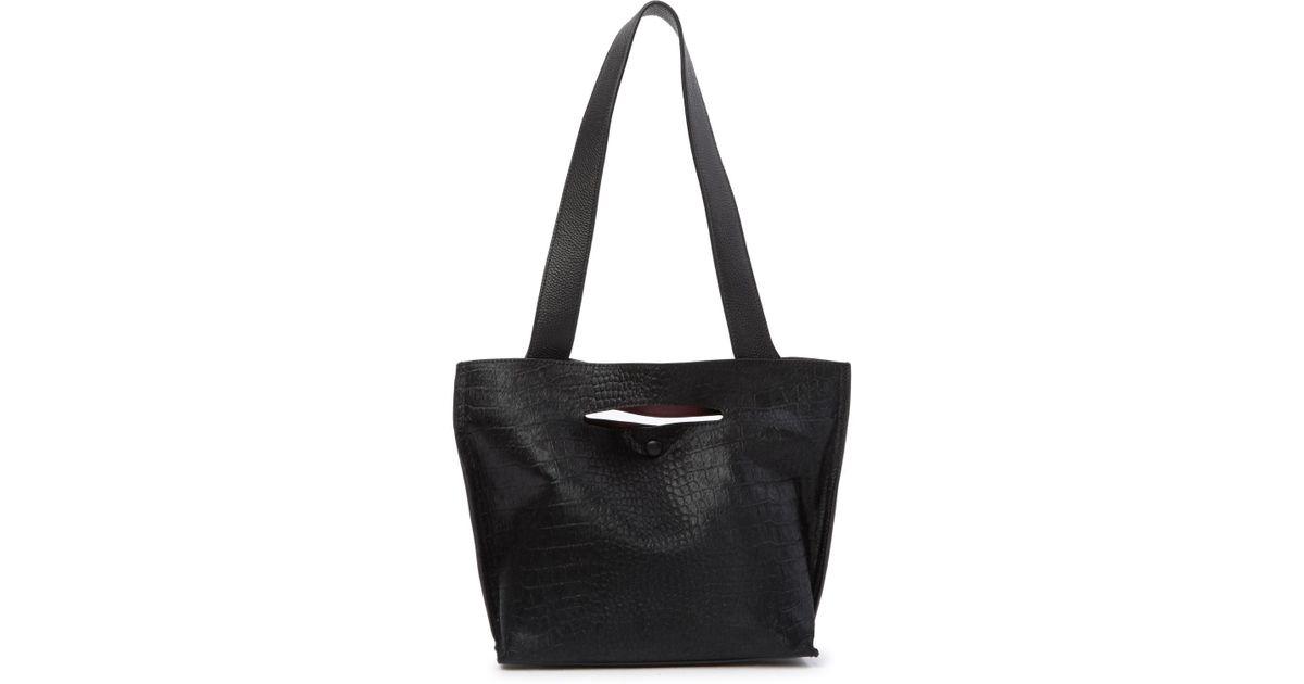 49b2f93c517a Lyst - Sondra Roberts Fur Medium Leather Tote Bag in Black