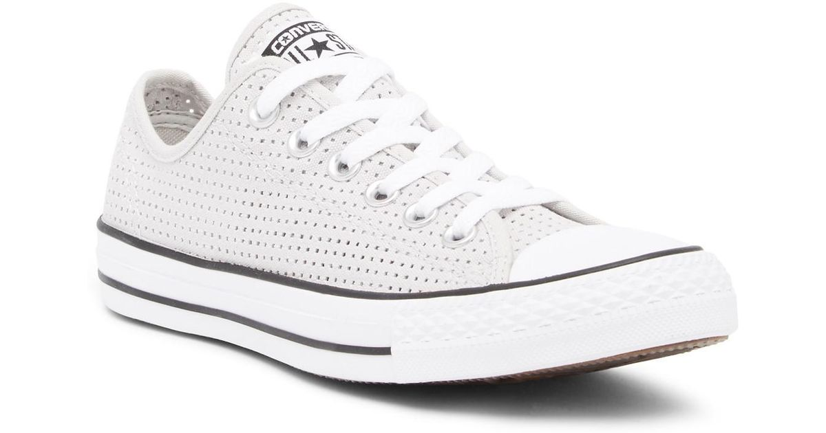 ed617073b570 Lyst - Converse Chuck Taylor All Star Ox Perforated Canvas Sneaker (women)  in White