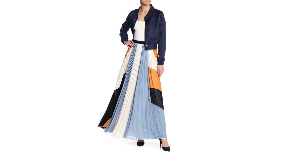 e2cde3f99d Gracia Pleated Colorblock Maxi Skirt in Blue - Lyst