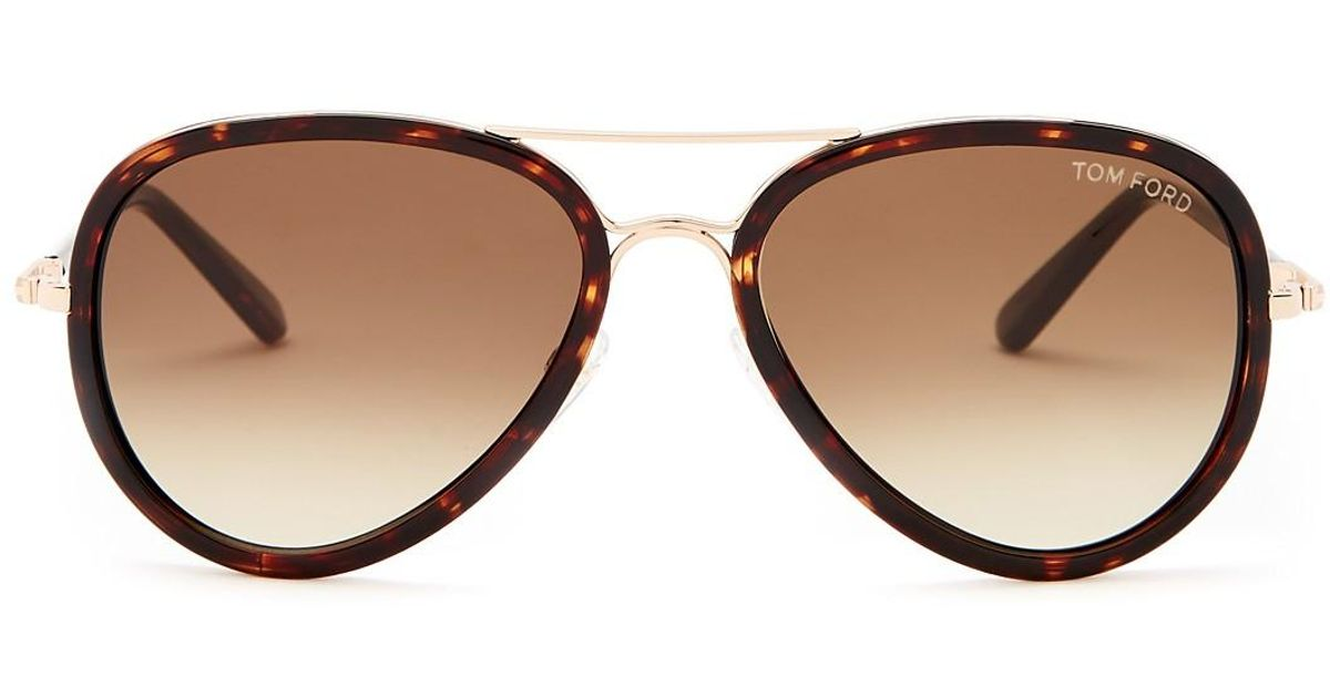 d5028bf9439b Lyst - Tom Ford Women s Miles Aviator Sunglasses in Brown