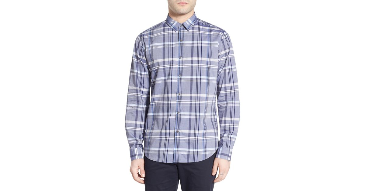 Men's Blue Zack Plaid Long-sleeve Sport Shirt