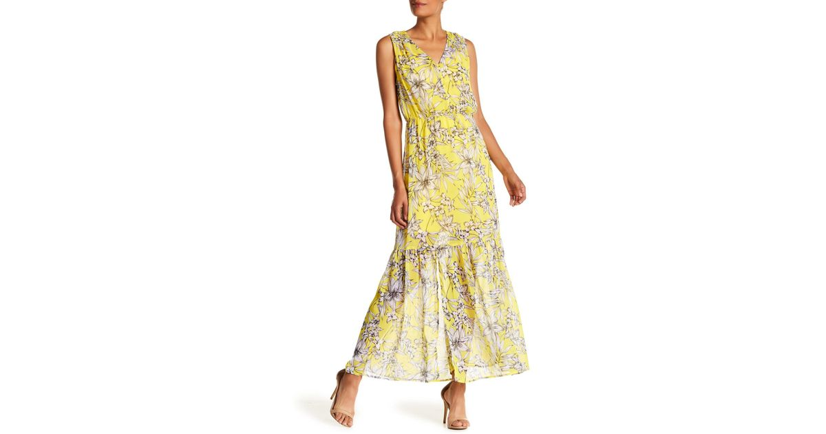 d8255f314515a3 Lyst - Eci V-neck Floral Print Maxi Dress in Yellow