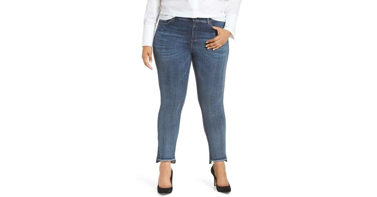 114fb91e3e8e6 Lyst - Marina Rinaldi I Idruro High Rise Slim Leg Raw Hem Jeans (sky Blue) (plus  Size) in Blue