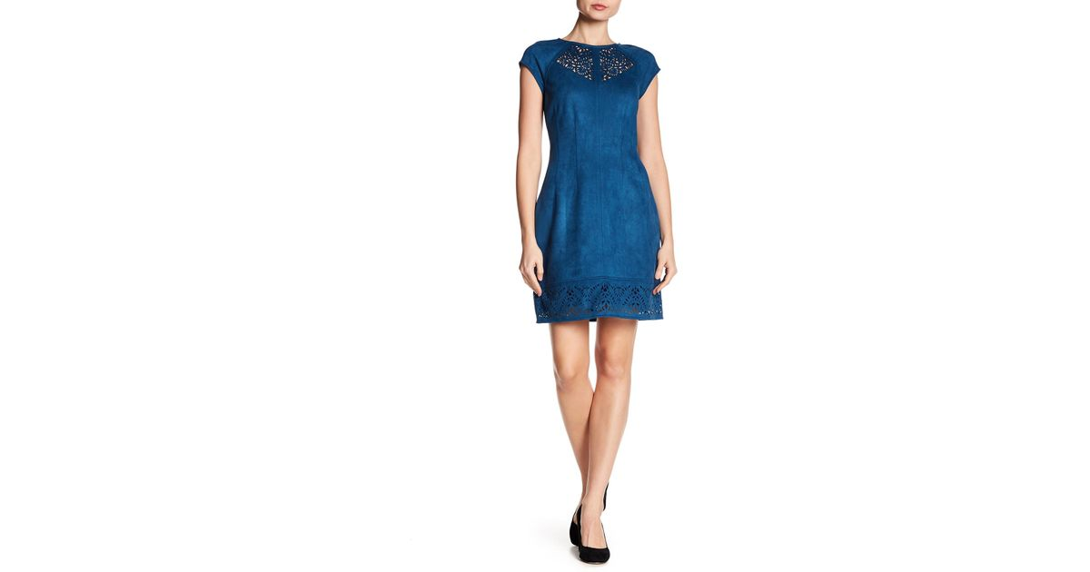 438a819f1d Lyst - Laundry by Shelli Segal Lace Cutout Faux Suede Dress in Blue