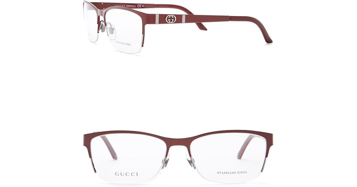 Lyst - Gucci Women\'s Rectangular Metal Optical Frames in Red