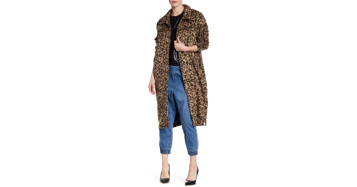 19e26749b80c One Teaspoon Roadhouse Faux Fur Cheetah Wool Blend Print Coat in Blue - Lyst