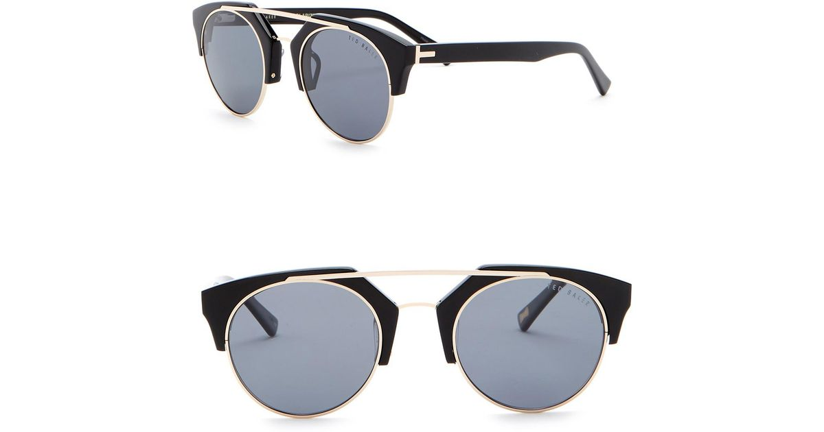 ba323a7fb9 Ted Baker Polarized 50mm Clubmaster Sunglasses in Black - Lyst