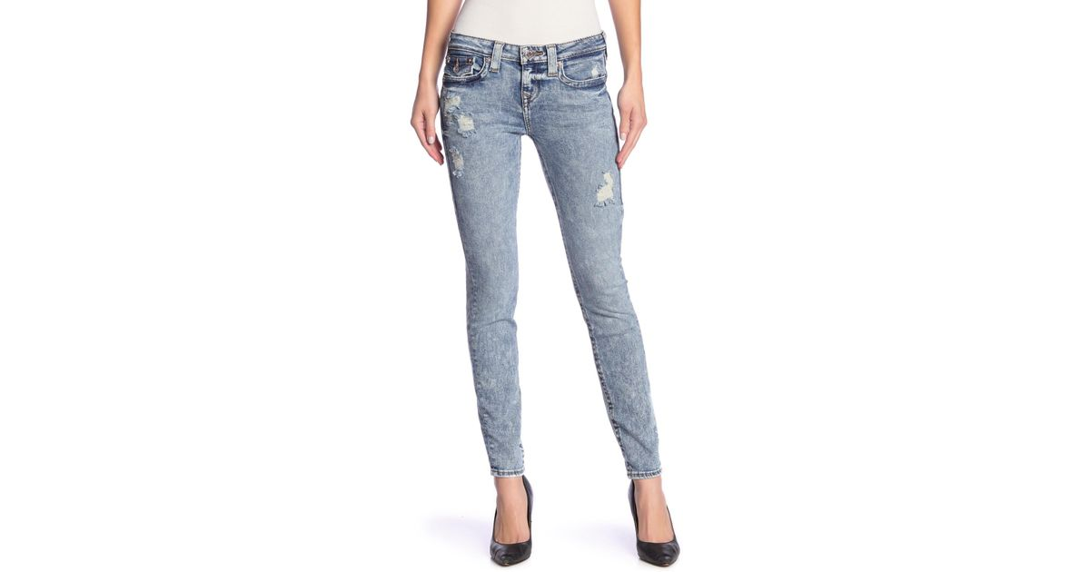 034c68c72 True Religion Halle Super Skinny Destroyed Jeans in Blue - Lyst
