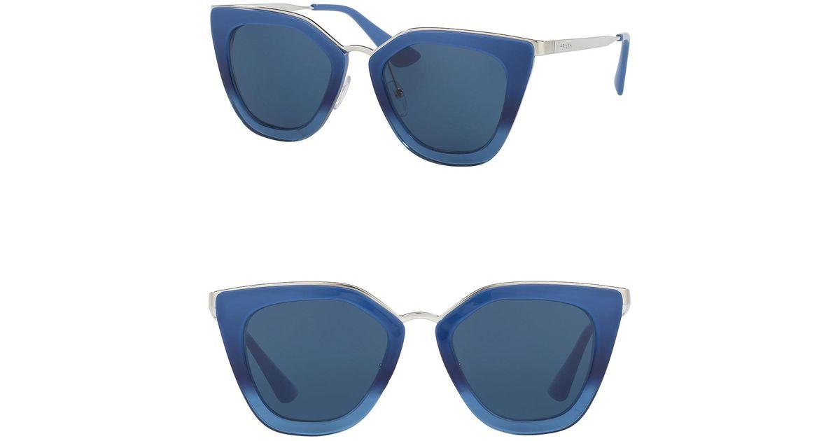 65eb9e0f3d3 Lyst - Prada 52mm Cat Eye Sunglasses in Blue