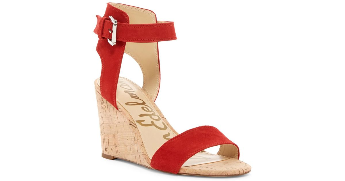 7febe22d92ea96 Lyst - Sam Edelman Willow Strappy Wedge Sandal in Red