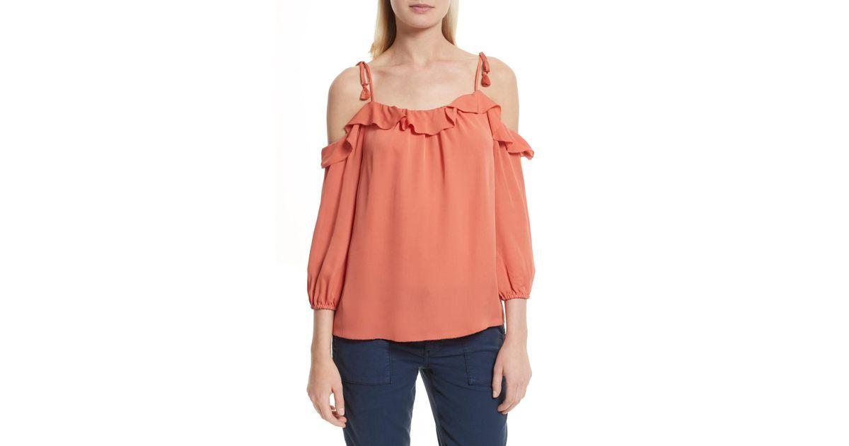 6305e8c8e05c4e Lyst - Joie Eukene Silk Cold Shoulder Top in Orange