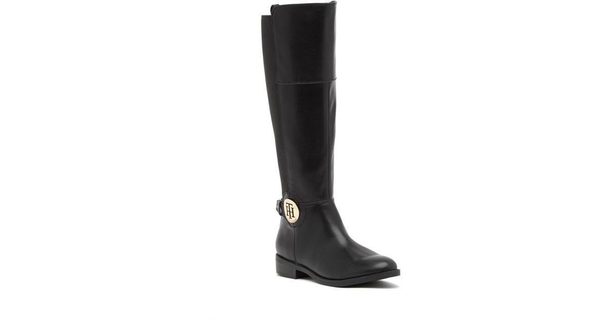 693b322e1cff Lyst - Tommy Hilfiger Idreena Stretch Tall Boot in Black