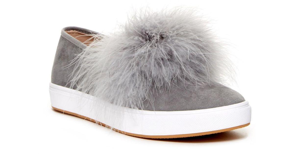a28055f2108 Lyst - Steve Madden Emily Faux Fur Slip-on Sneaker in Gray